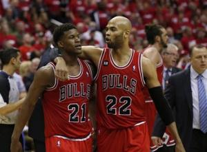 Jimmy Butler (l) and Taj Gibson (r) have become versatile defensive staples for a Bulls team that would miss them dearly if moved for Love