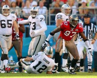 Rice had an 02' season to remember racking up Pro Bowl and 1st team All Pro Honors with a 15.5 sack campaign capped off with a 2 sack performance in a Super Bowl XXXVII win over the Raiders...
