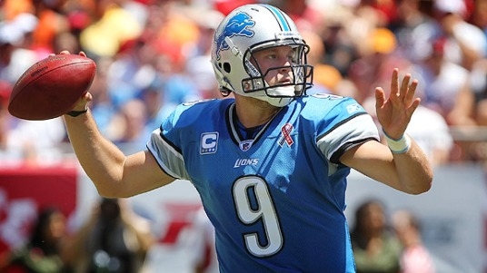 Sep 11, 2011; Tampa, FL, USA;  Detroit Lions quarterback Matthew Stafford (9) throws the ball during the first quarter against the Tampa Bay Buccaneers at Raymond James Stadium. Mandatory Credit: Kim Klement-US PRESSWIRE