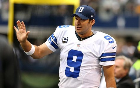 Dec 23, 2012; Arlington, TX, USA; Dallas Cowboys quarterback Tony Romo (9) talks on the sidelines against the New Orleans Saints at Cowboys Stadium. Mandatory Credit: Matthew Emmons-USA TODAY Sports